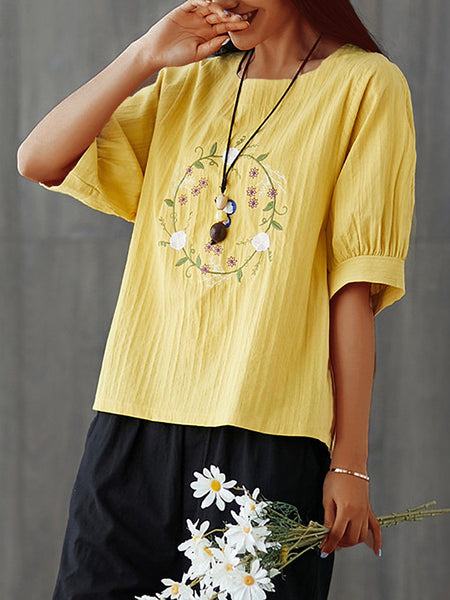 Plus Size  Women  Cotton And Linen Embroidered  Balloon Sleeves Casual  Tops