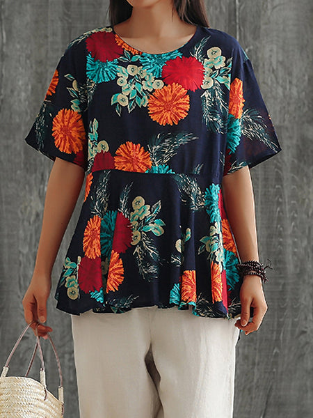 Plus Size Women Loose Cotton And Linen Round Neck Short Sleeve Floral Casual Tops