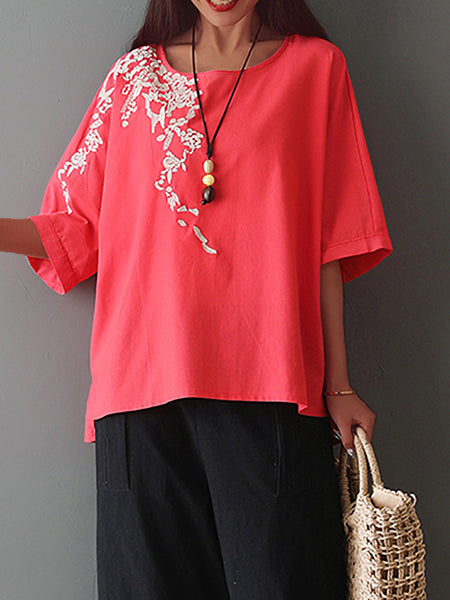 Plus Size Embroidered Round Neck Short Sleeve  Blouse