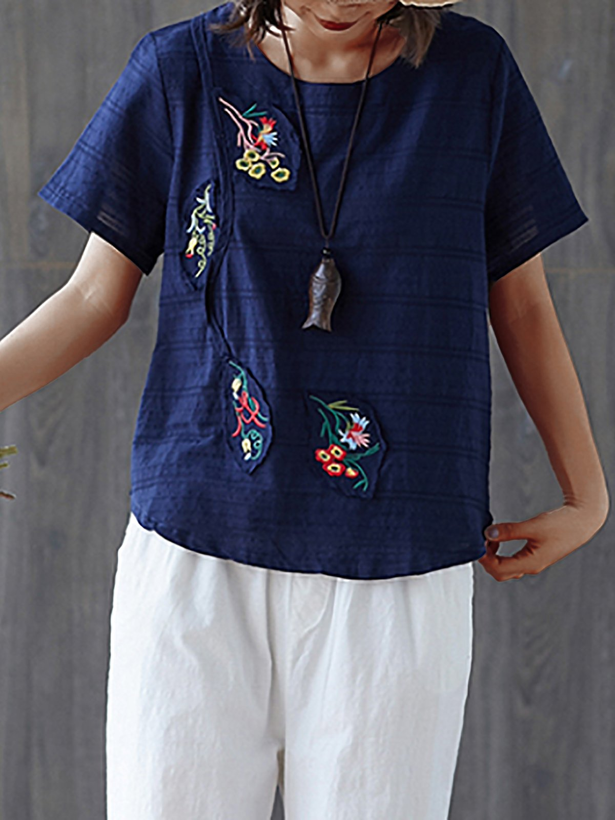 Plus Size  Women  Cotton And Linen  Floral  Short  Sleeves Round Neck  Casual  Tops