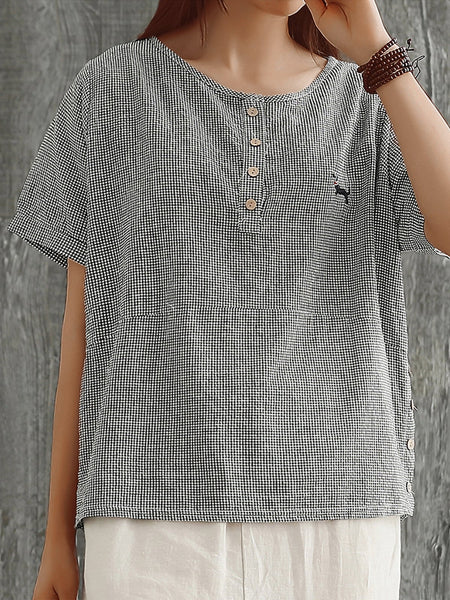 Plus Size Women Round Neck Short Sleeve Plaid Cotton And Linen Loose Casual Top