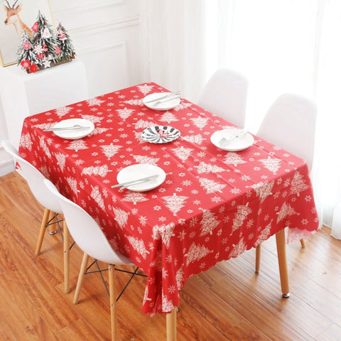 Christmas Linen Cotton Table Decor Nordic Snowflakes Deer Tree Mat Xmas Tablecloth