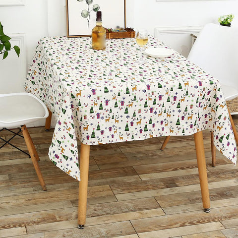 Christmas Hat Cartoon Cotton Linen Fabric Tablecloth for Dining Table
