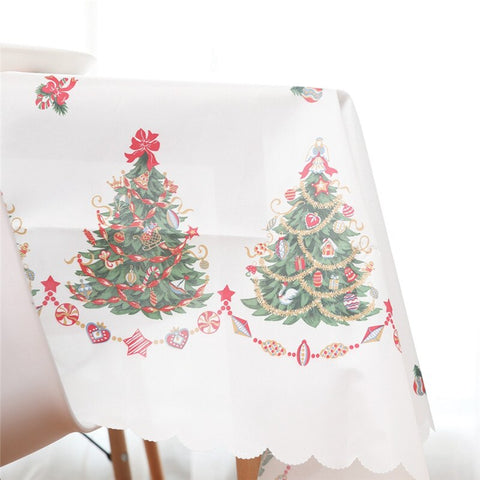 Linen Cotton Christmas Washable Tablecloth