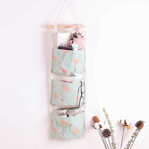 3 Pockets Wall Hanging Bag Linen Closet Organizer