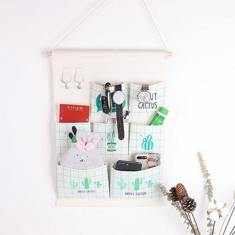 7 Pockets Wall Hanging Bag Linen Closet Organizer
