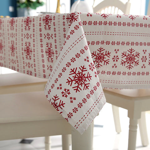 Linen Cotton Christmas Red Snowflakes Washable Tablecloth