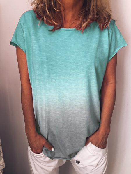 Casual Cotton-Blend O-Neck Shirts & Tops