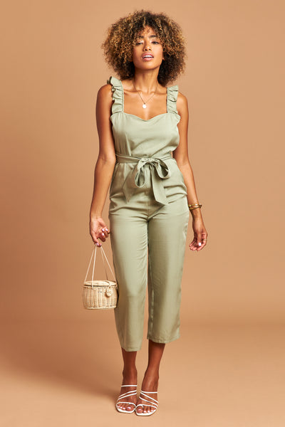 The Natalie Jumpsuit in Sage - Front | Unseam the Label