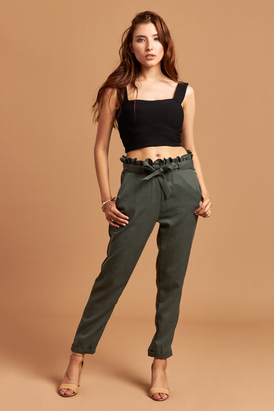 The Emma Pants in Dark Green - Front | Unseam the Label