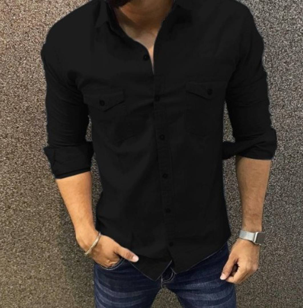 MEN COTTON LONG SLEEVES SOLID SHIRT