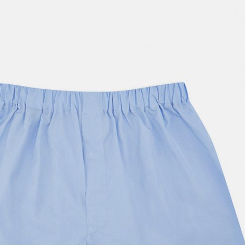 Plain Blue Cotton Boxer Shorts