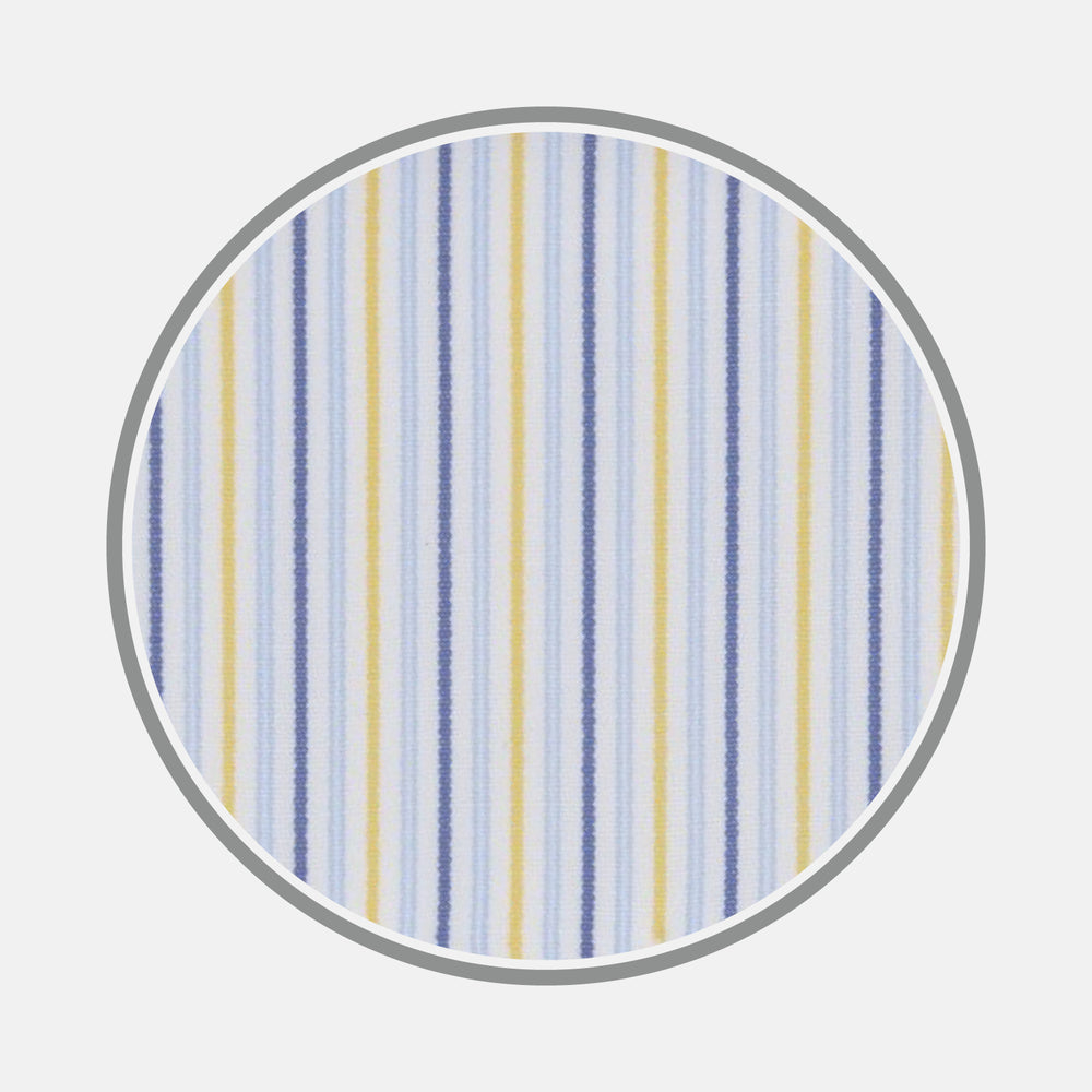 Yellow and Navy Small Stripe Cotton Fabric