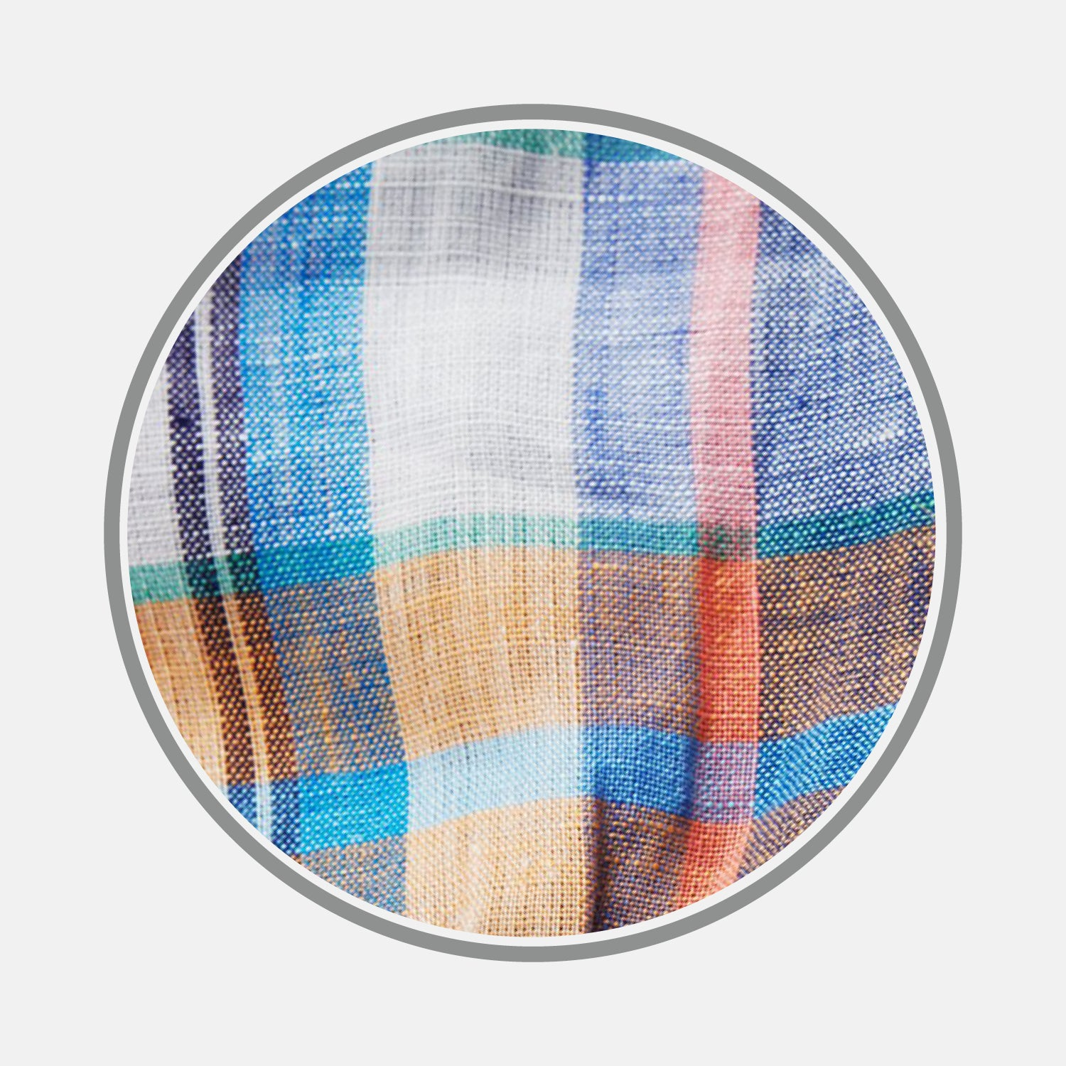 Blue and Teal Madras Check Linen Fabric