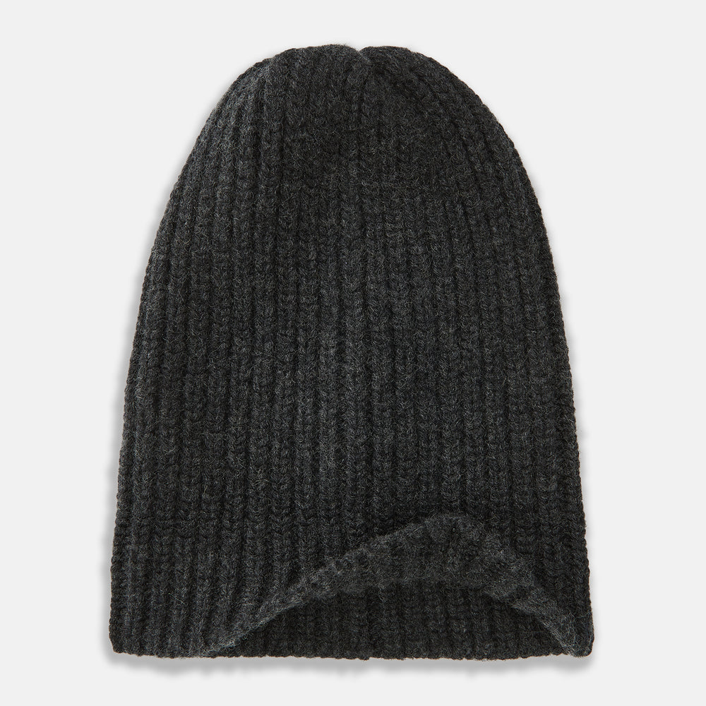 Charcoal Cashmere Ribbed Hat