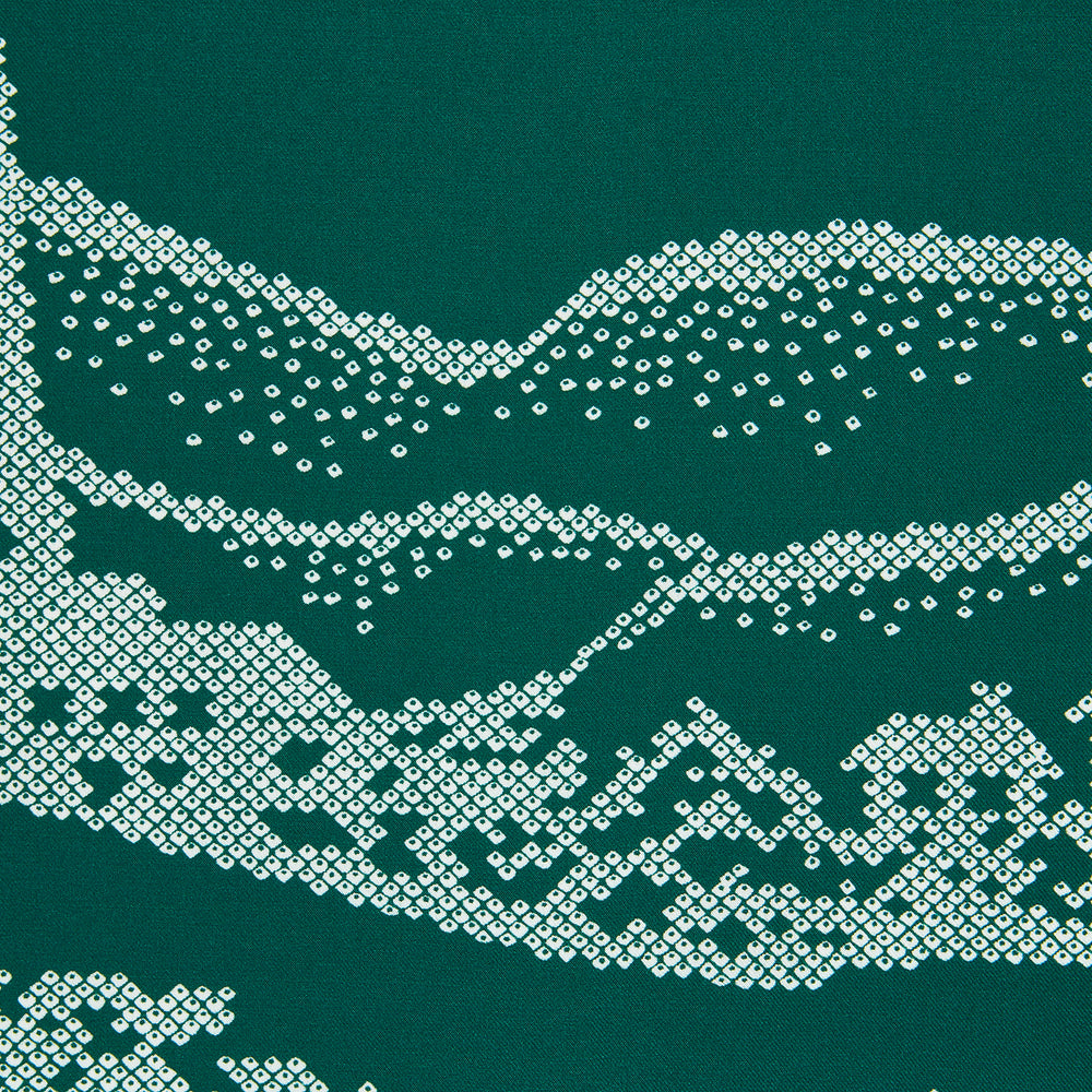 Green Snowscape Motif Silk Pocket Square