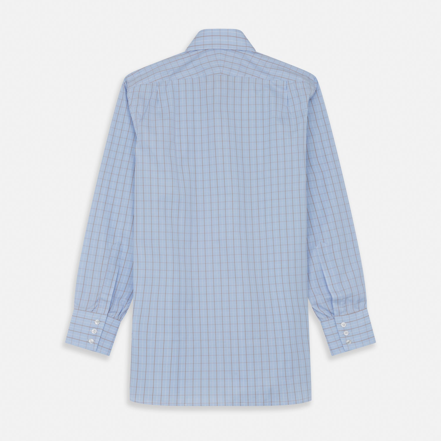 Beige Graph Check Regular Fit Shirt with T&A Collar and 3-Button Cuffs