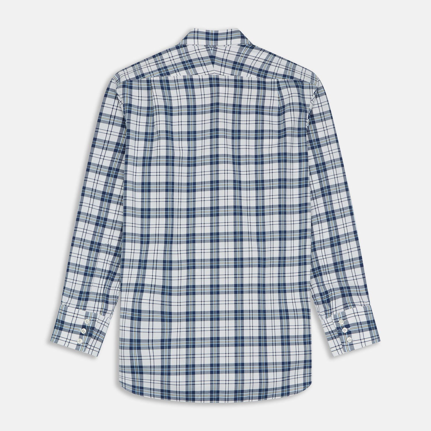Blue Check Shirt with T&A Collar and 3-Button Cuffs