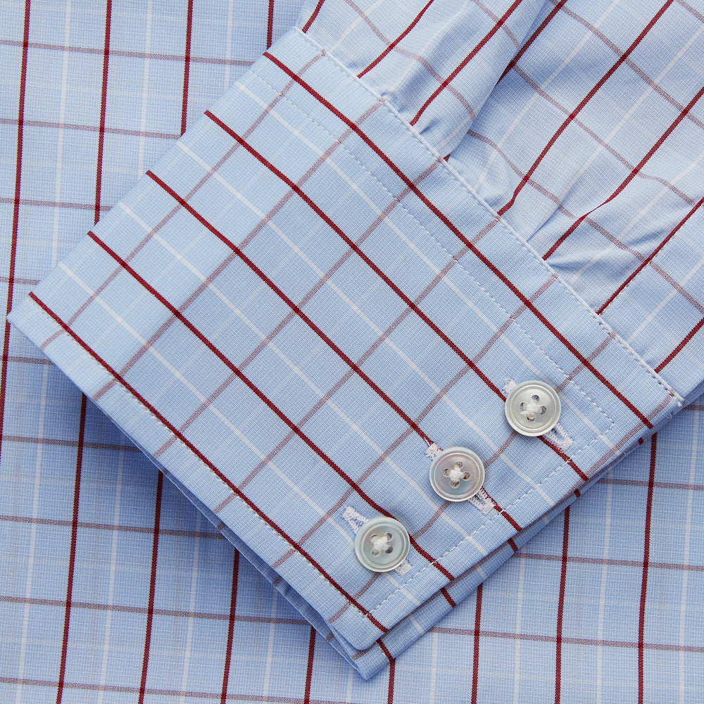Burgundy Graph Check Regular Fit Shirt with T&A Collar and 3-Button Cuffs