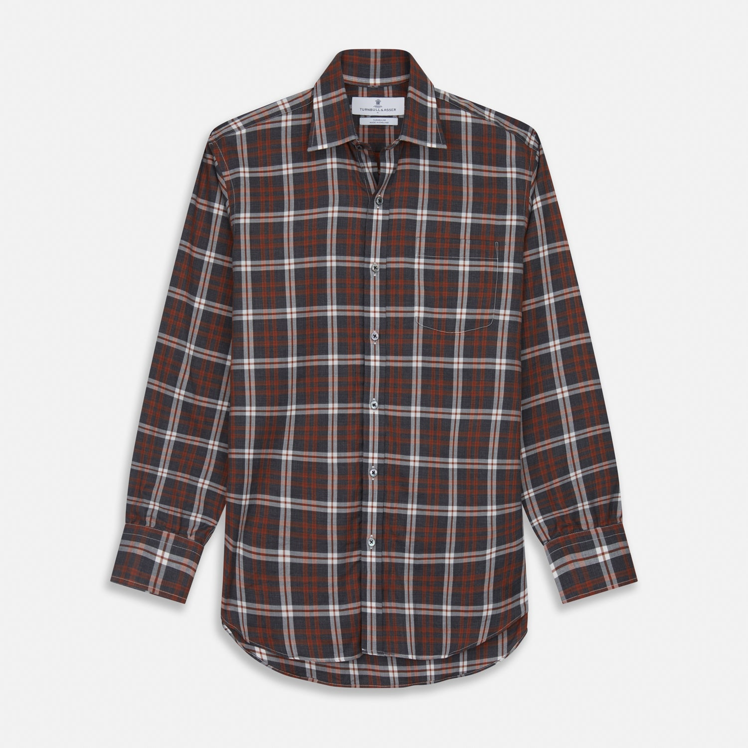 Rust Check Weekend Fit Flannel Shirt with Derby Collar and 1-Button Cuffs