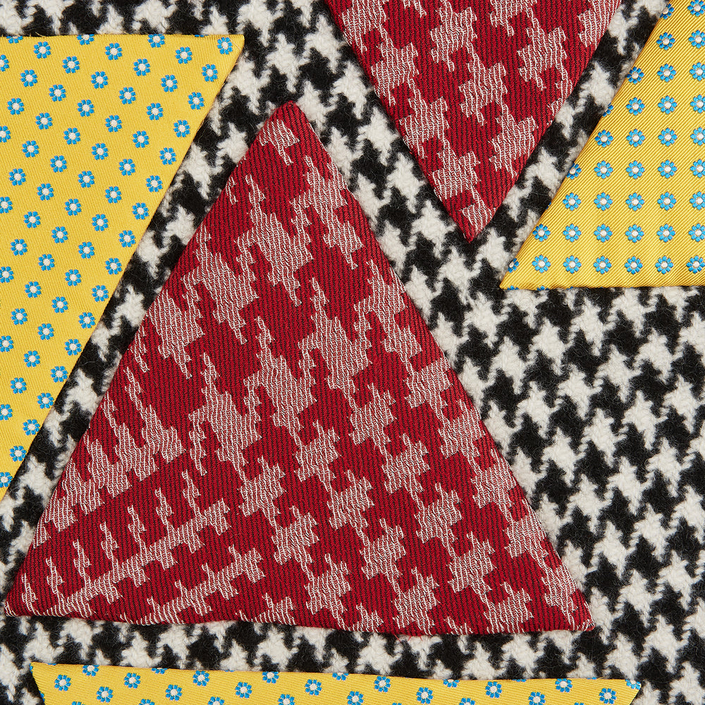 Houndstooth Applique Hand Stitched Cashmere Blanket