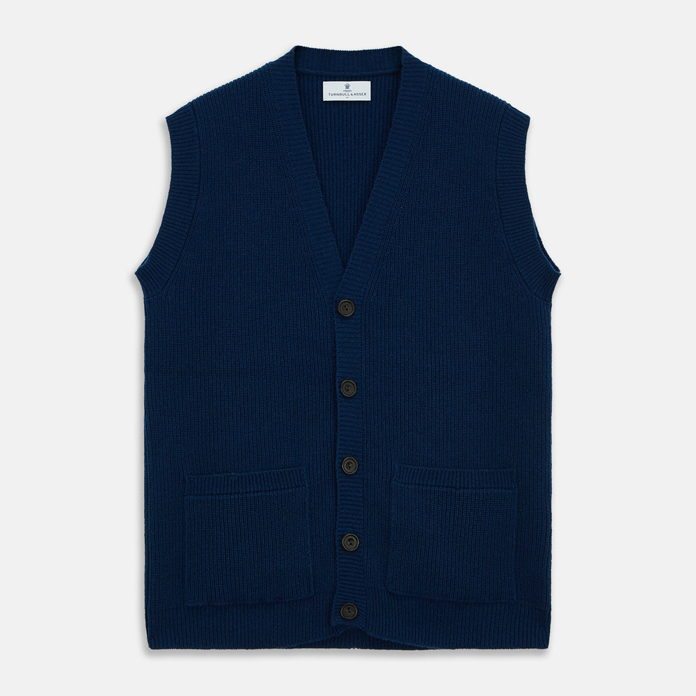 Navy Sleeveless Cashmere Cardigan