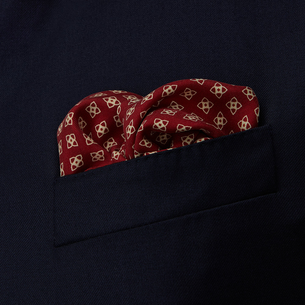Burgundy Micro Geometric Print Pocket Square