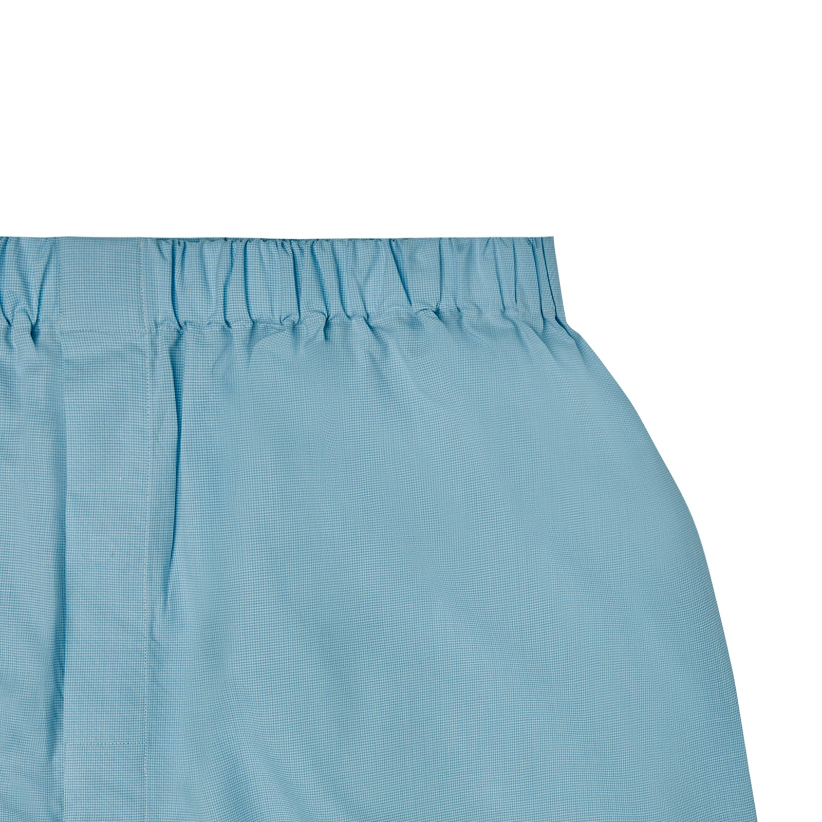 Turquoise Fine Check Cotton Boxer Shorts