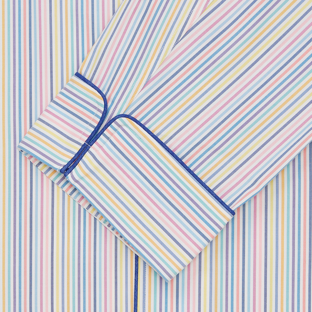 Multi-coloured Twill Cotton Stripe Pyjama Set