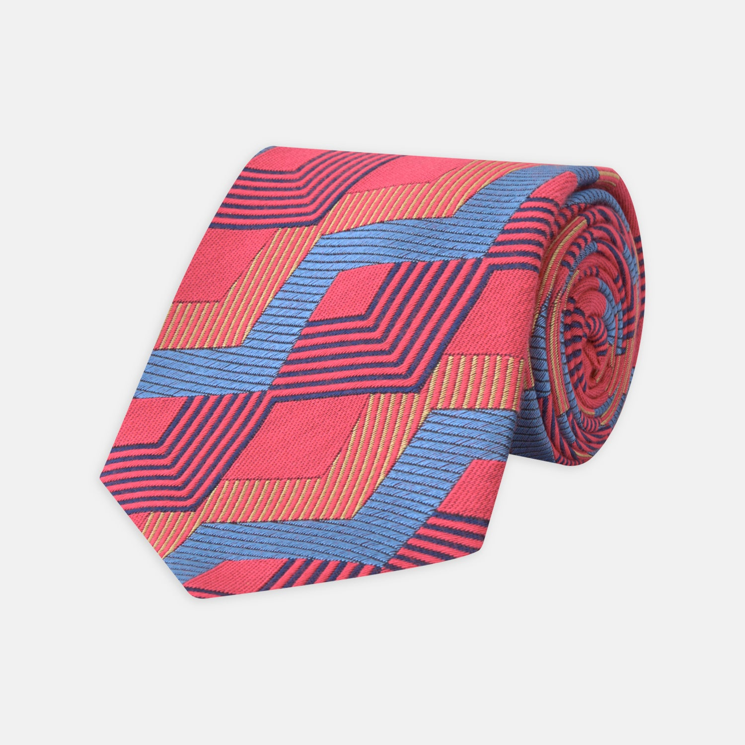 Red and Blue Zig Zag Silk Tie