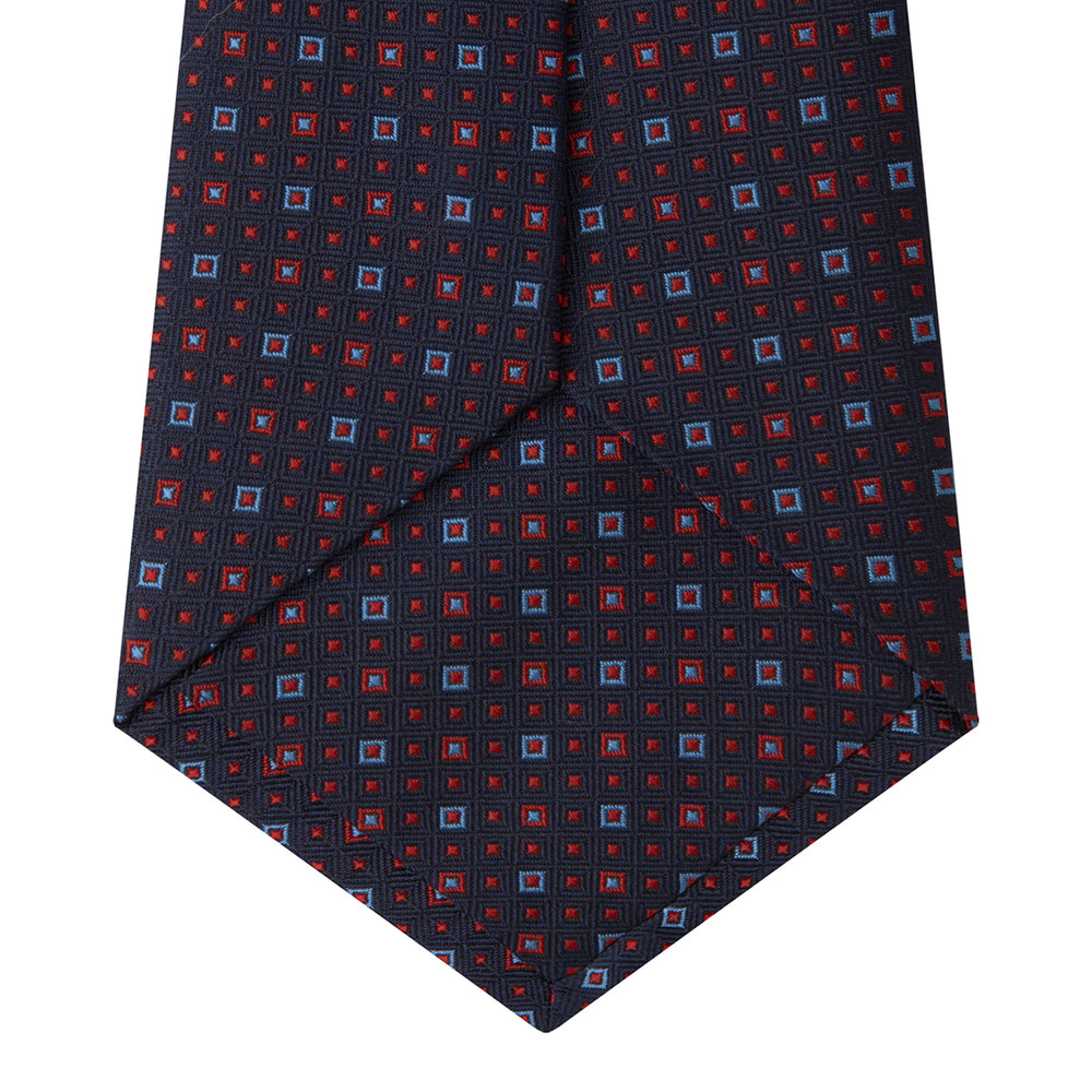 Navy and Red Miniature Repeat Silk Tie