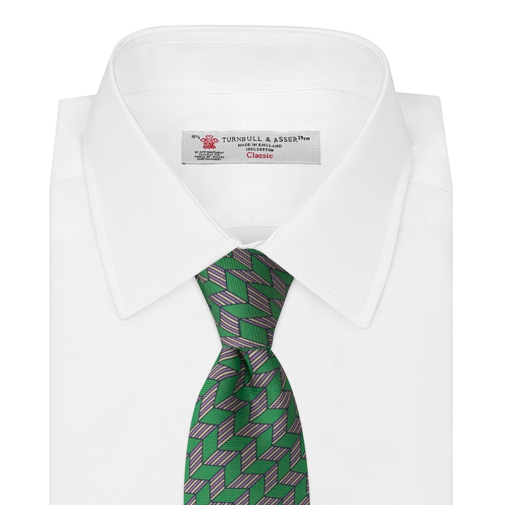 Green and Purple Arrow Printed Silk Tie