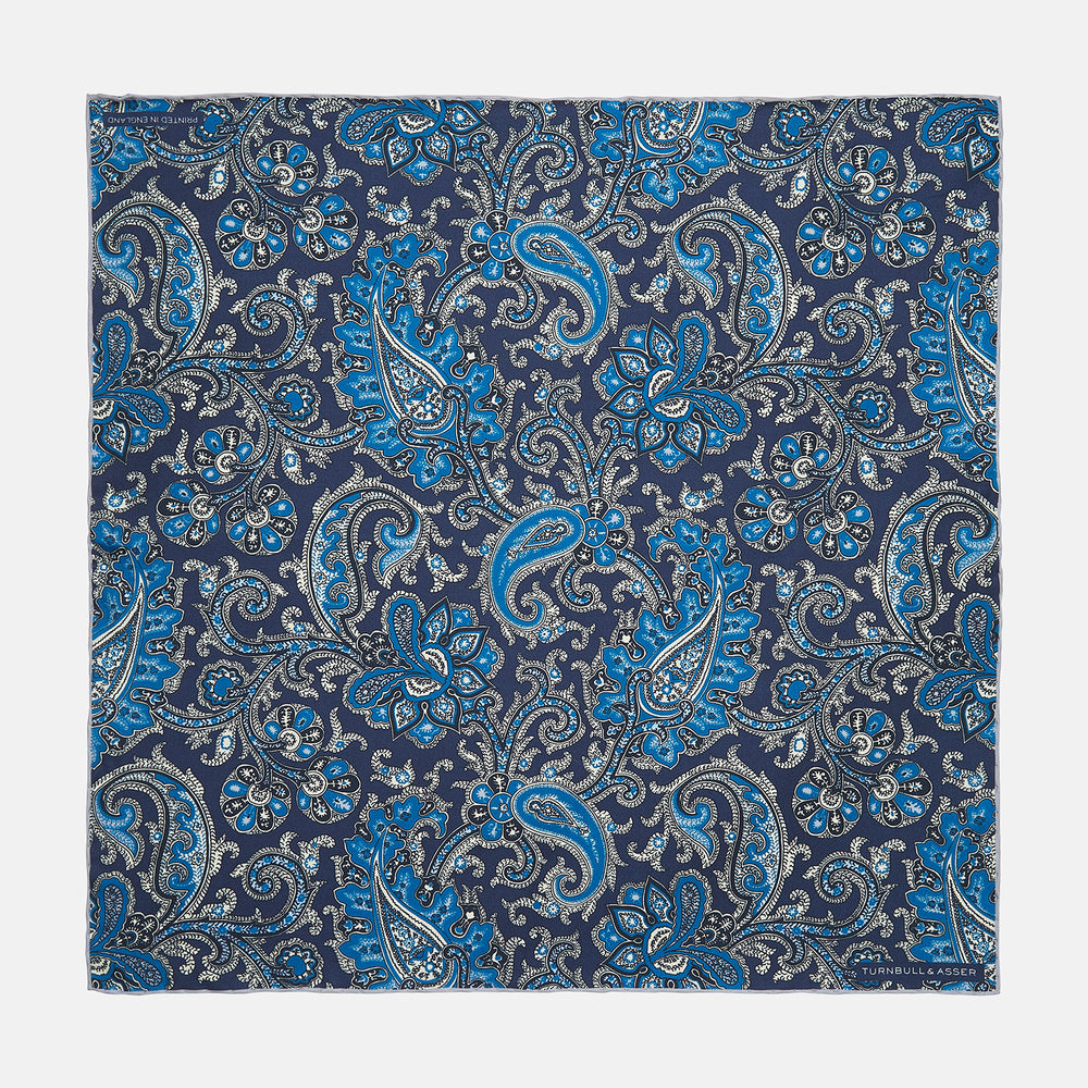 Royal Blue and Turquoise Classic Paisley Silk Pocket Square