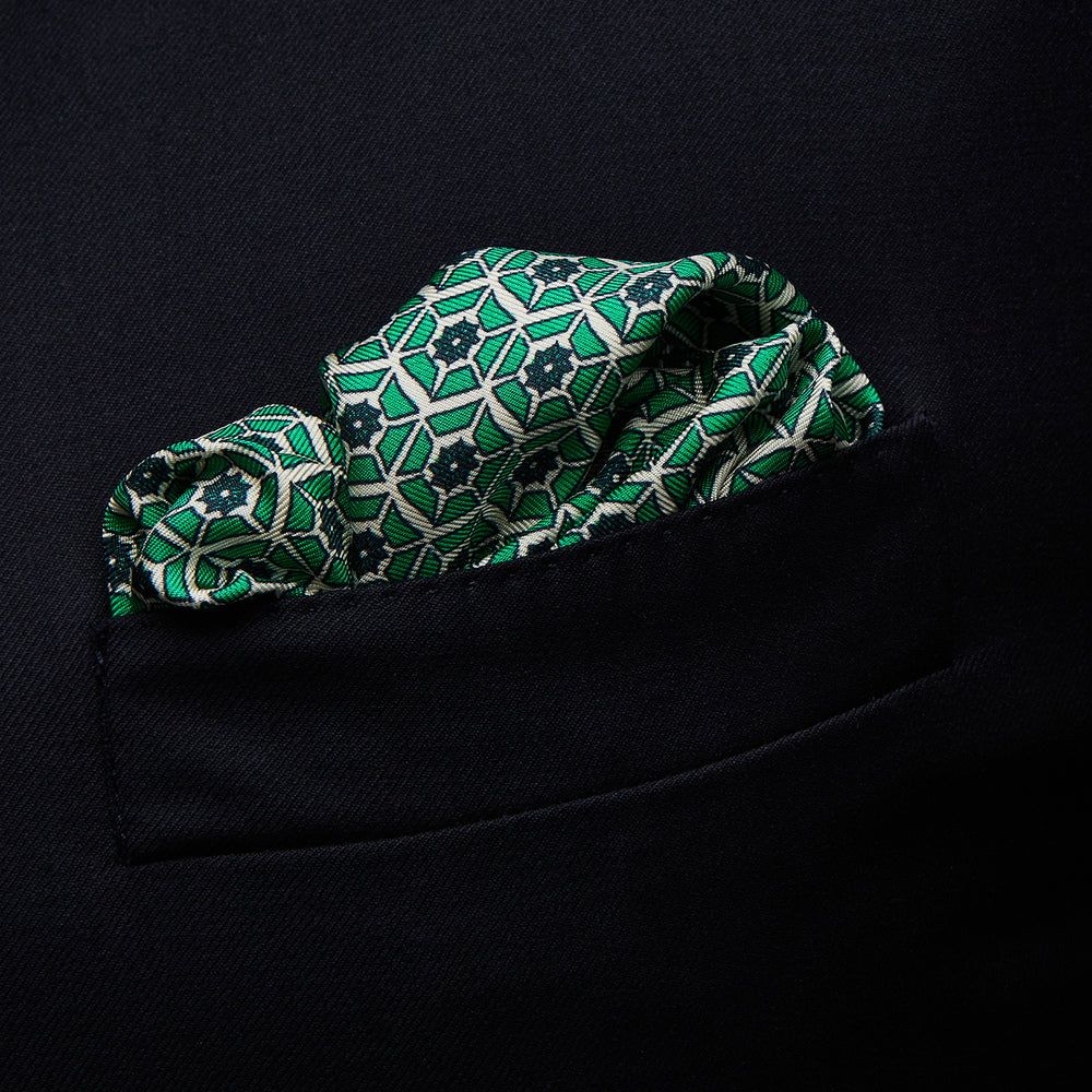 Green Hexagonal Print Silk Pocket Square