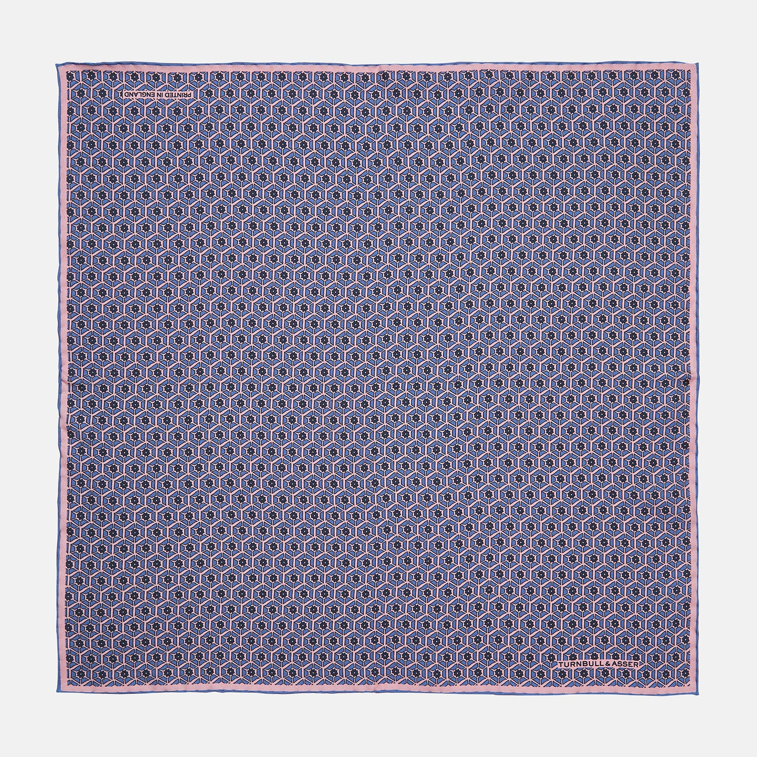Lilac Hexagonal Print Silk Pocket Square