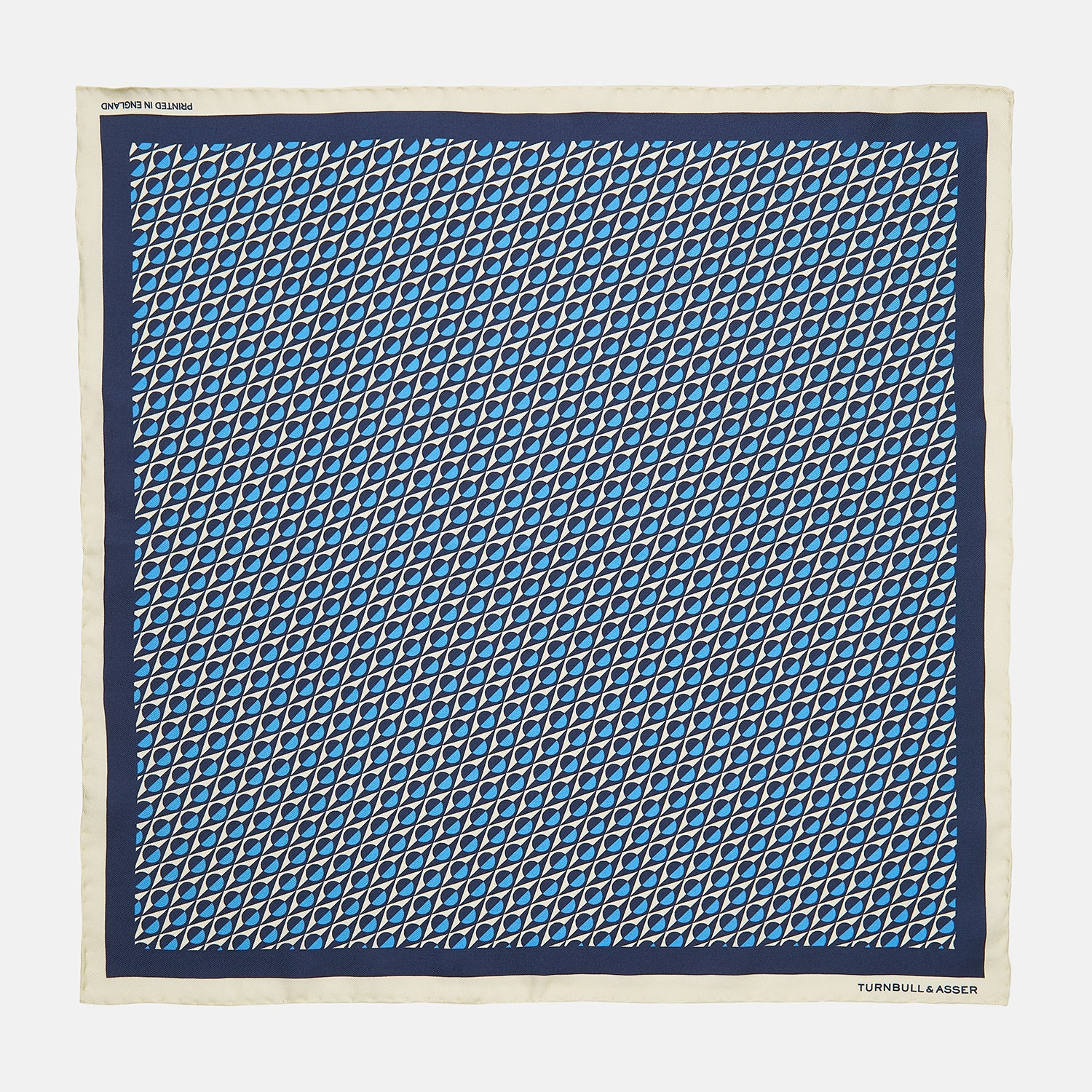 Royal Blue Abstract Geometric Print Silk Pocket Square