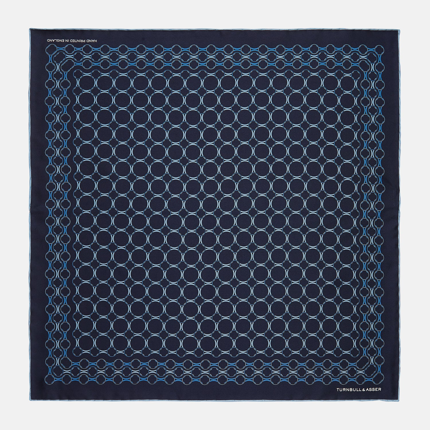 Navy Chain Link Print Silk Pocket Square