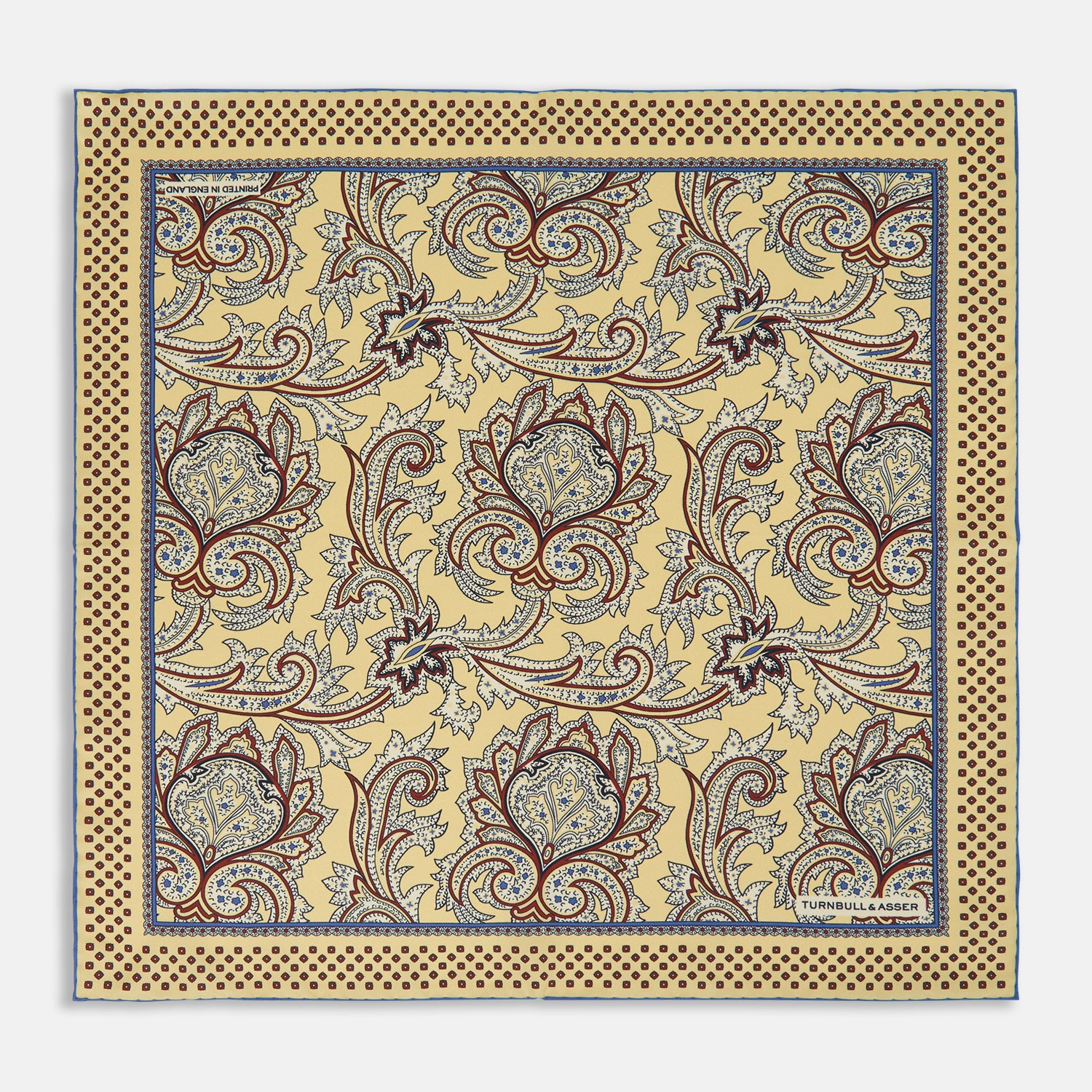 Yellow Paisley Petal Print Silk Pocket Square