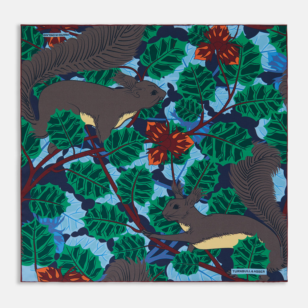 Navy Squirrel Print Silk Pocket Square