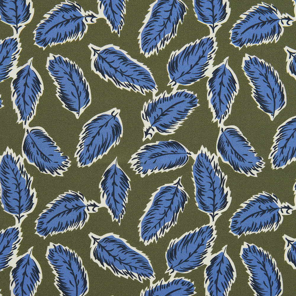 Olive Abstract Feather Print Silk Pocket Square