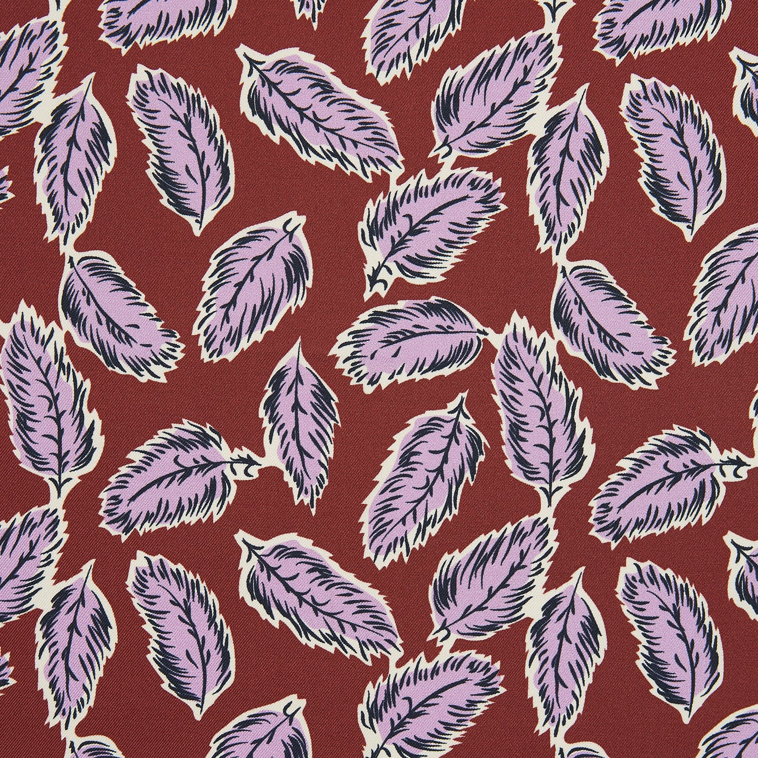 Red Abstract Feather Print Silk Pocket Square