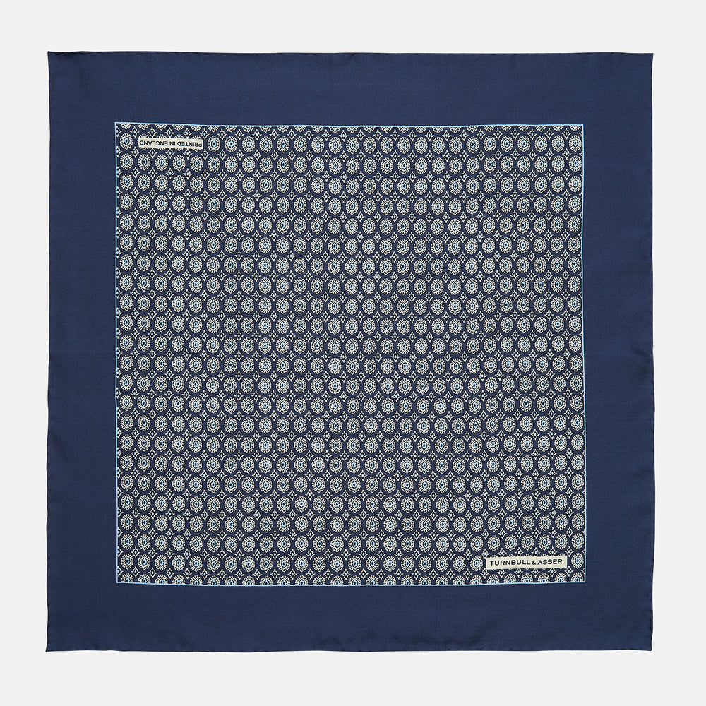 Navy Sarasa Print Silk Pocket Square