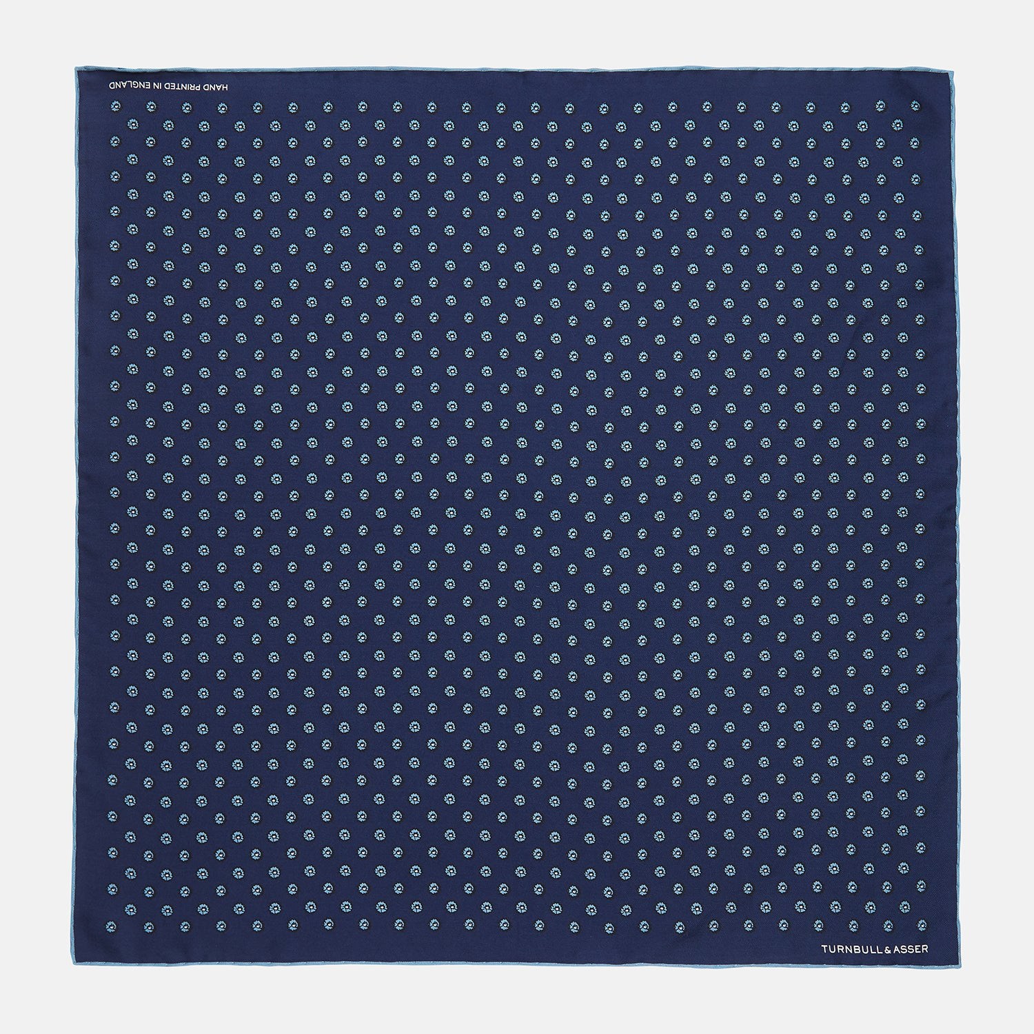 Navy Fine Floral Print Silk Pocket Square