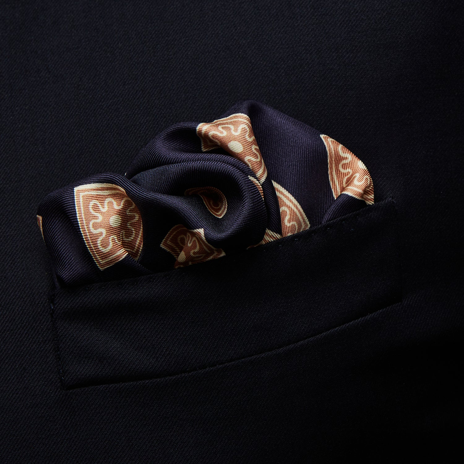 Navy and Copper Tiled Floral Silk Pocket Square
