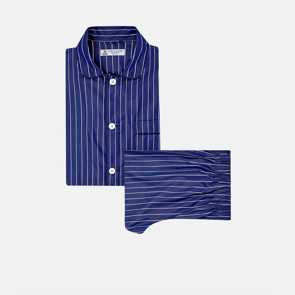 Navy Stripe Cotton Modern Pyjama Set