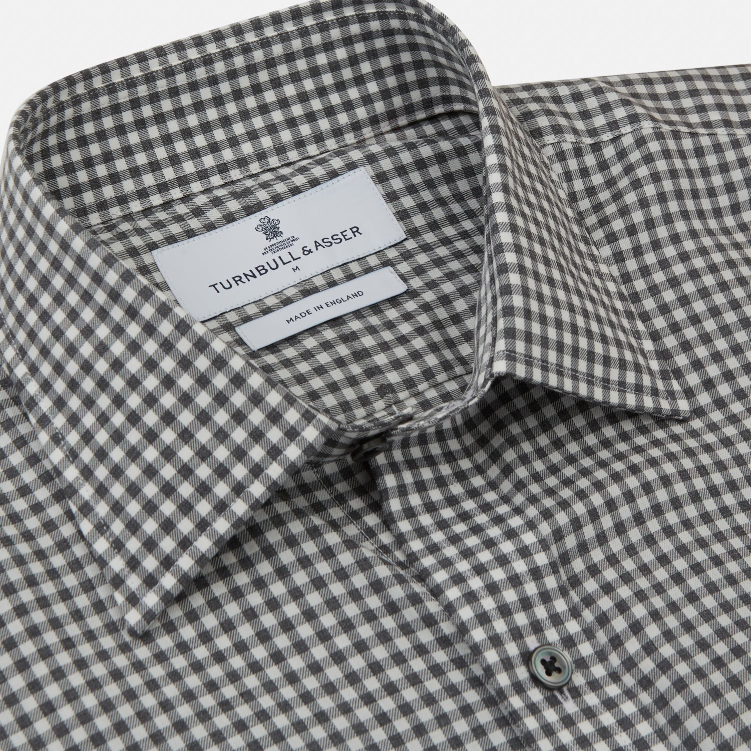 Grey Check Weekend Fit Flannel Shirt with Derby Collar and 1-Button Cuffs