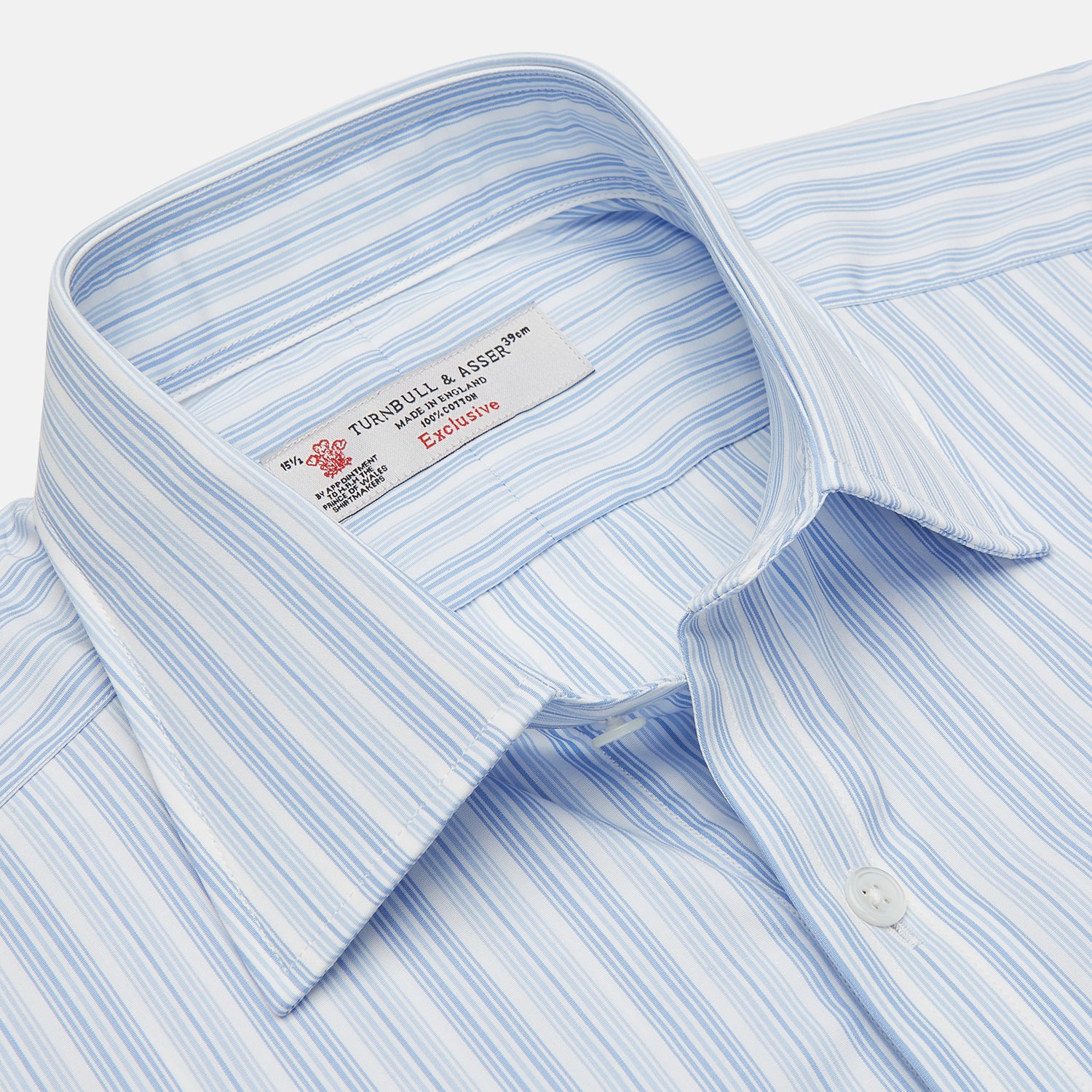 Blue & White Stripe Poplin Cotton Regular Fit Shirt with T&A Collar & Double Cuffs