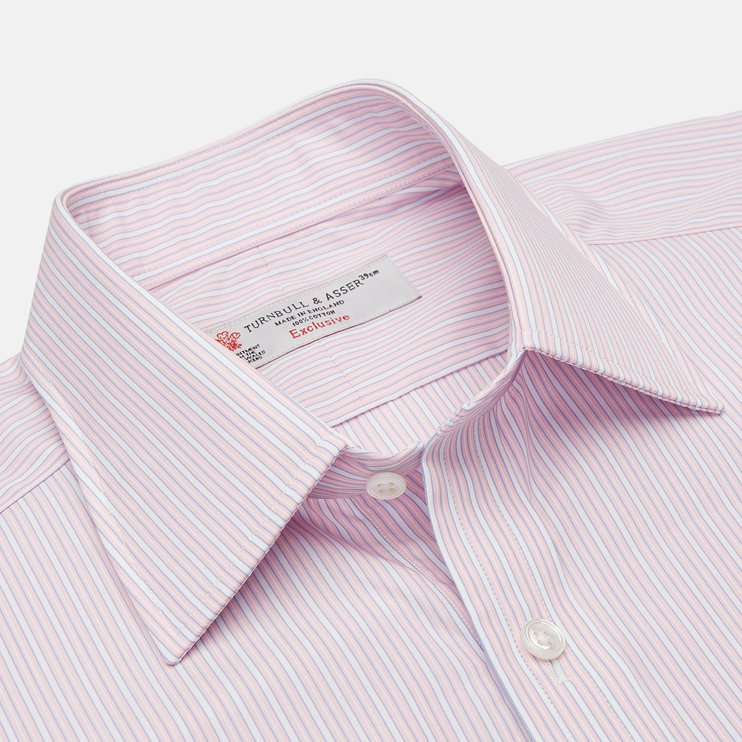 Pink Rich Stripe Shirt with T&A Collar and 3-Button Cuffs
