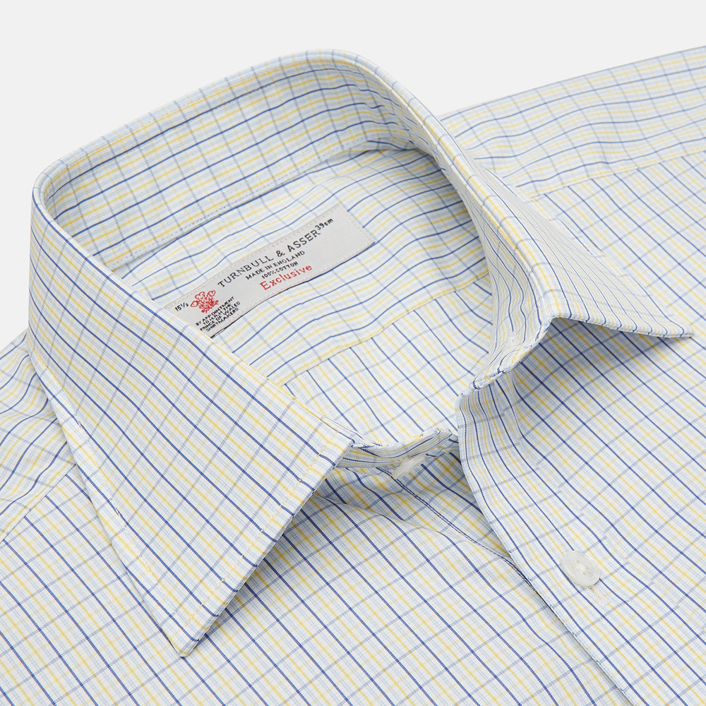 Yellow, Blue & White Check Regular Fit Poplin Cotton Shirt with T&A Collar & 3-Button Cuffs