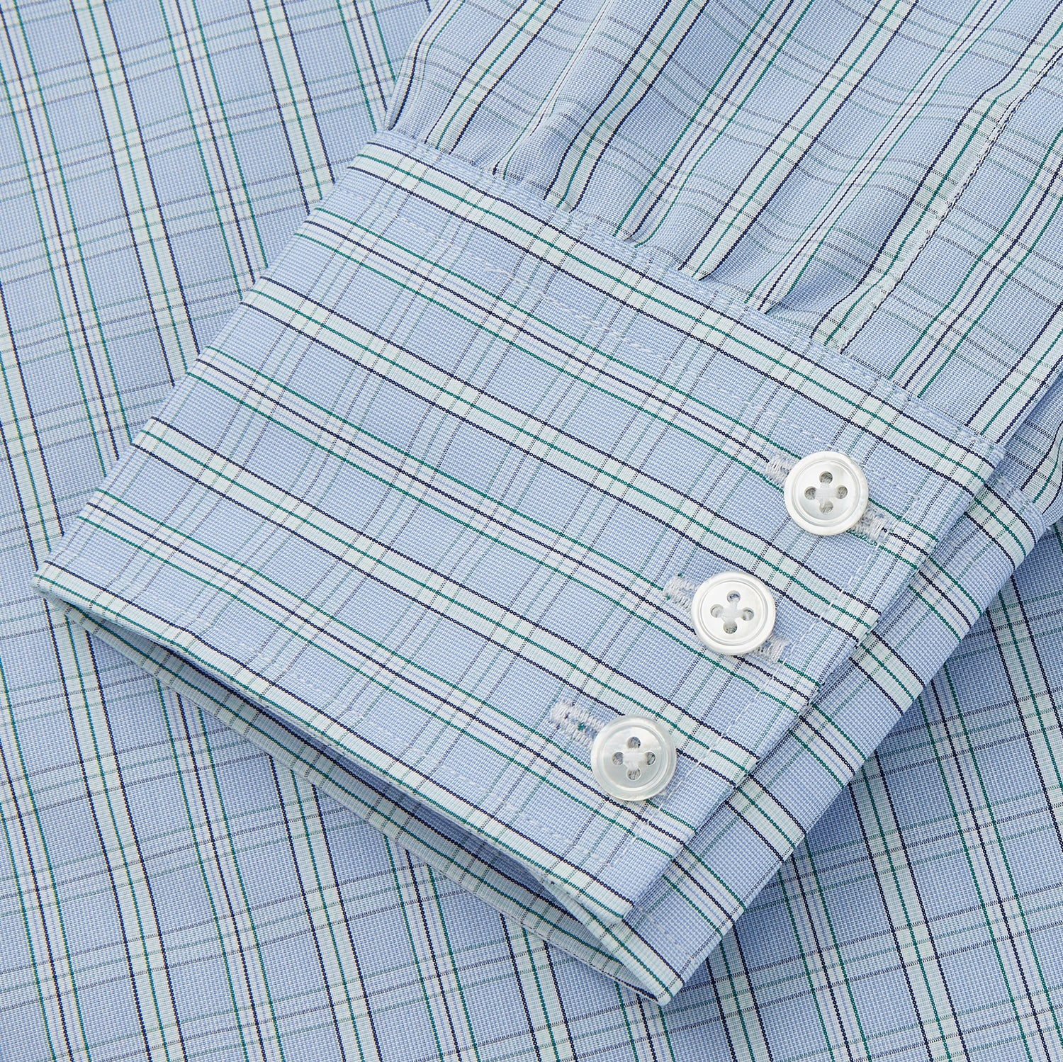 Blue And Green Check Poplin Cotton Regular Fit Shirt with T&A Collar and 3-Button Cuffs